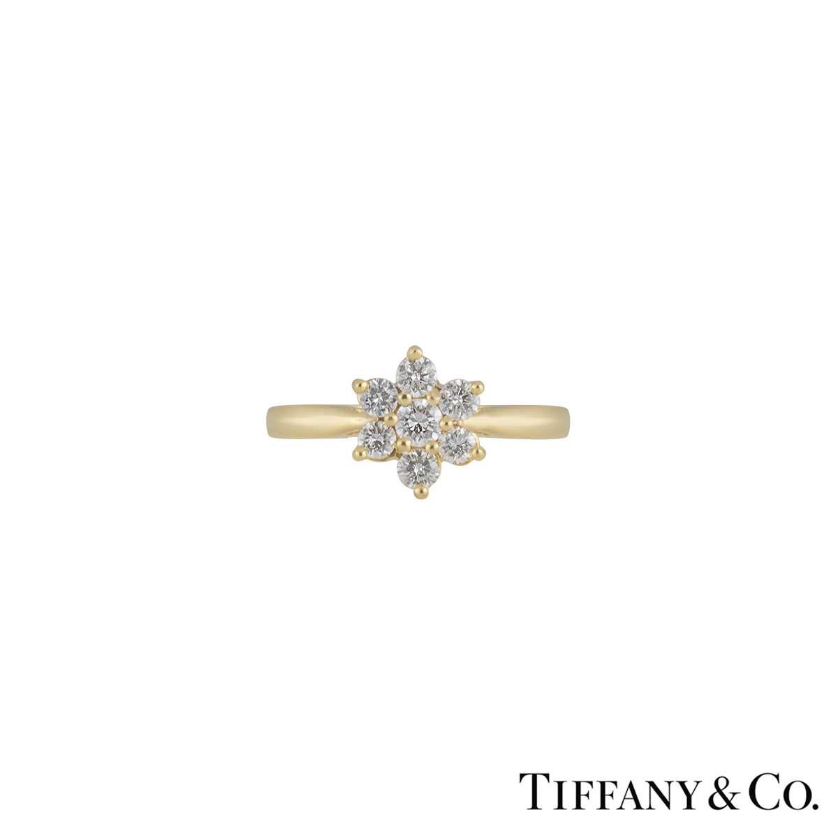 Tiffany & Co Yellow Gold Diamond Flower Ring 0.47ct